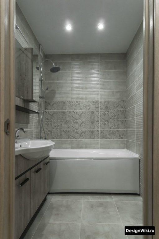 Прямоугольная серая плитка в ванной в хрущевке