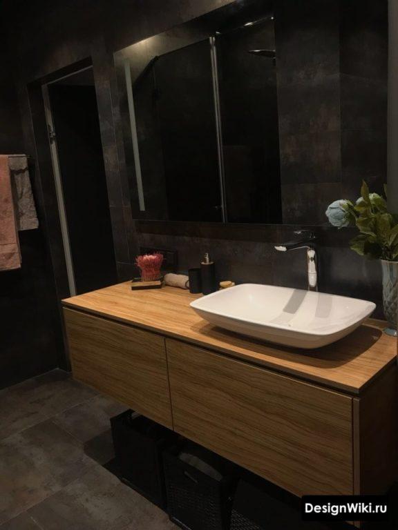 Раковина чаша в ванной в стиле лофт