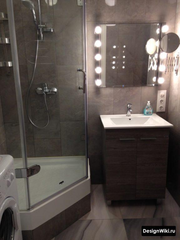 Санузел в хрущевке с душем вместо ванны