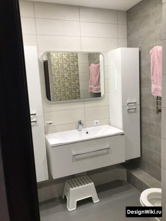 Сатиновая белая и серая плитка #интерьер #ванная