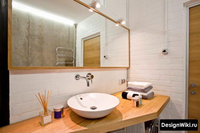 Светлая ванная в стиле лофт