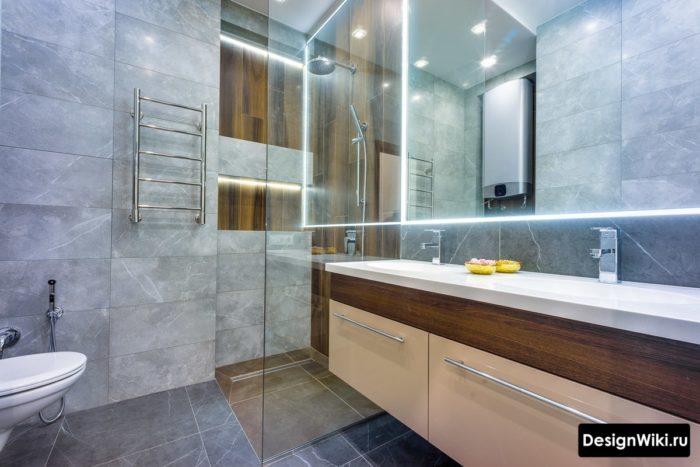 Светодиодная подсветка в современной лофт ванной