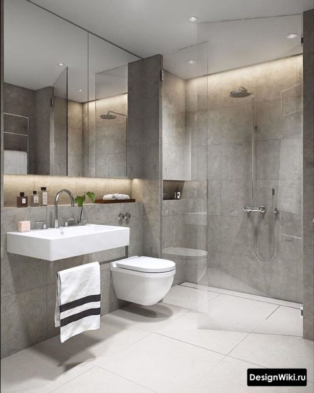 Серая ванная комната в стиле индастриал