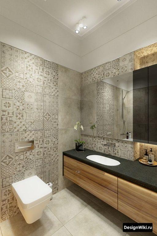 Серая плитка с узором в ванной в стиле лофт