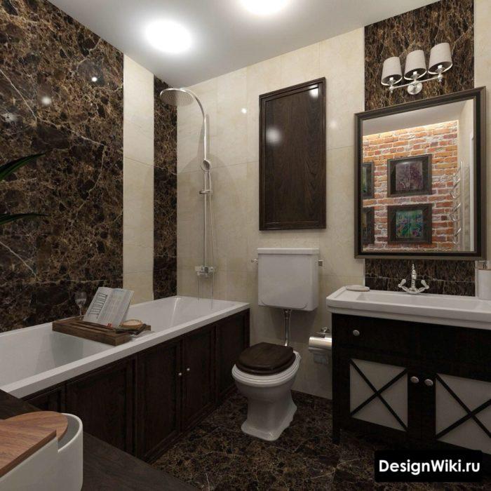 Смесь классики и лофта в ванной
