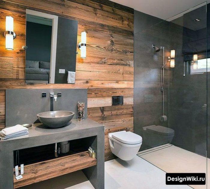 Современная ванная в стиле лофт с бетоном и деревом