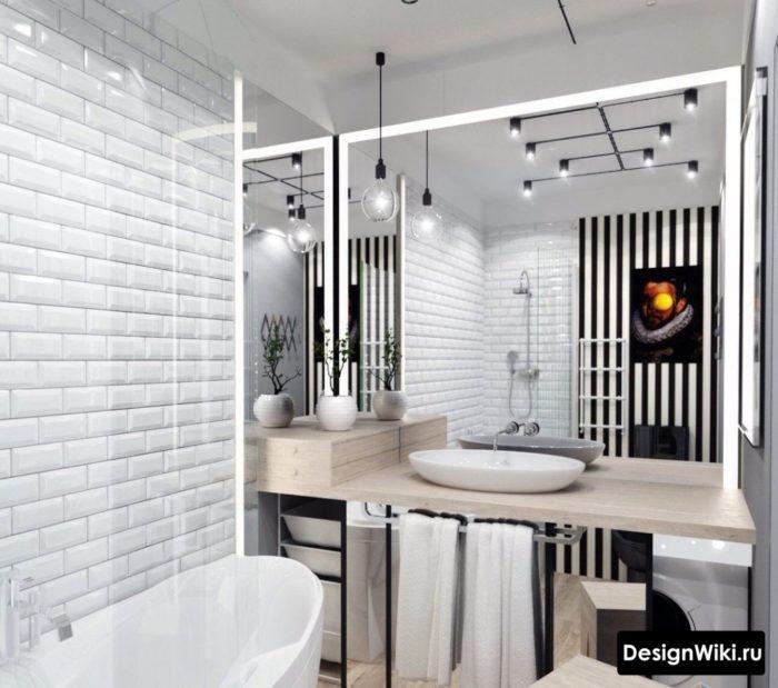 Современный дизайн ванной в стиле лофт