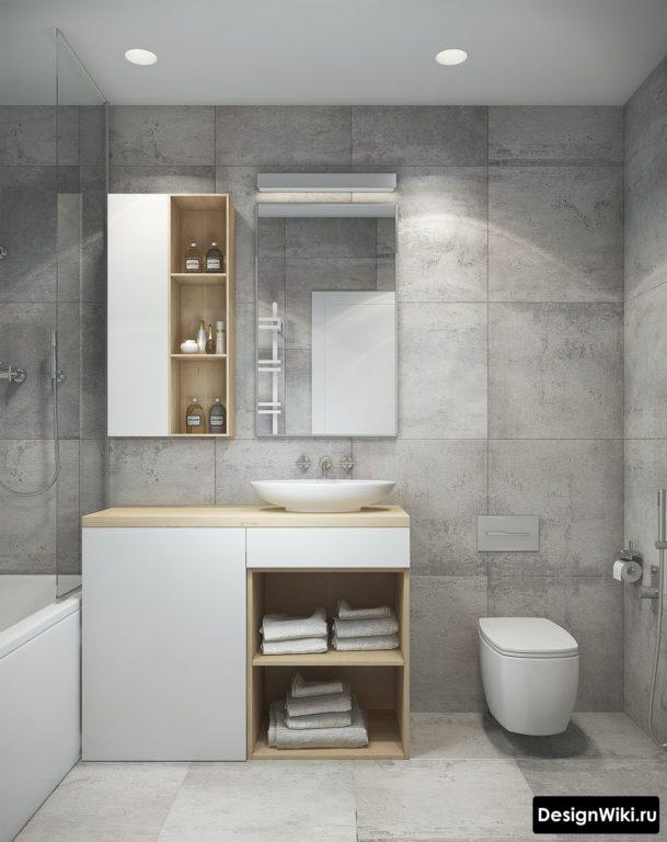 Сочетание белого, серого и дерева в лофт ванной