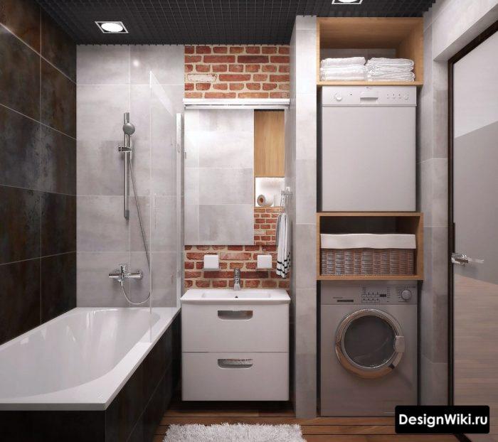 Сочетание черного, белого и красного кирпича в лофт ванной