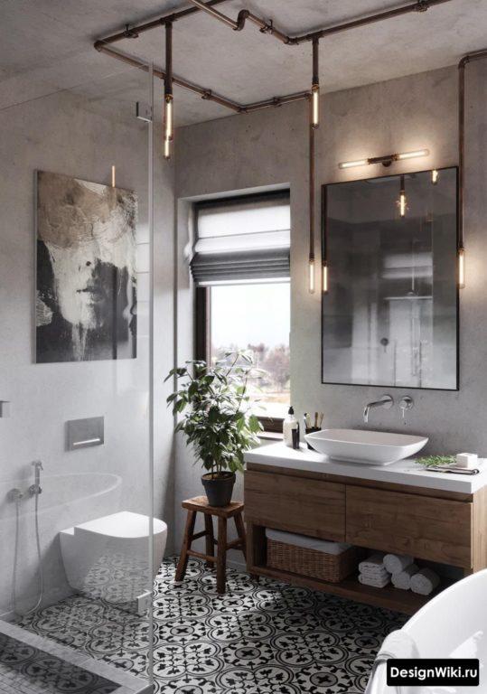 Стильная ванная в стиле лофт