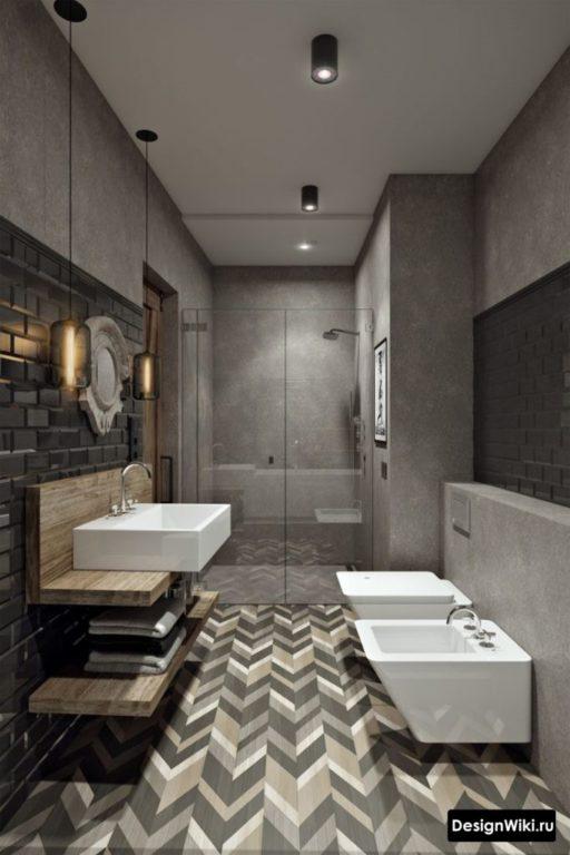 Стильная и модная ванная в стиле лофт
