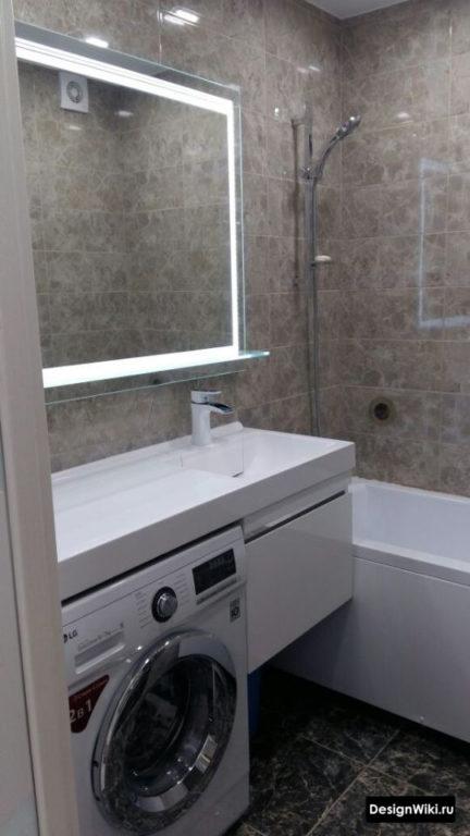 Стиральная машина под раковиной в ванной в хрущевке #дизайн #ваннаякомната