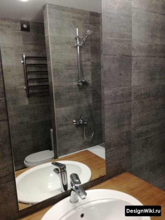 Тёмно-серая плитка в ванной в стиле лофт