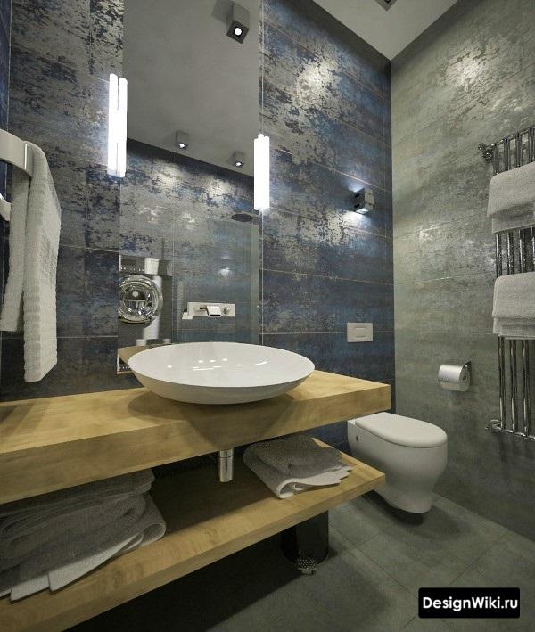 Тёмно-синяя плитка под металл в стиле лофт