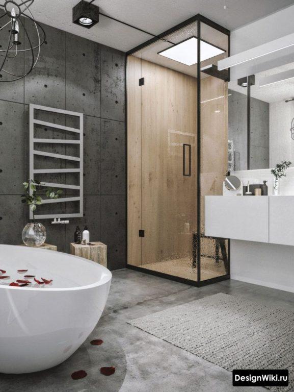 Ультрасовременный стиль лофт в ванной комнате