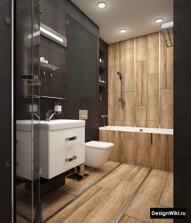 Черный цвет и дерево в ванной в стиле лофт