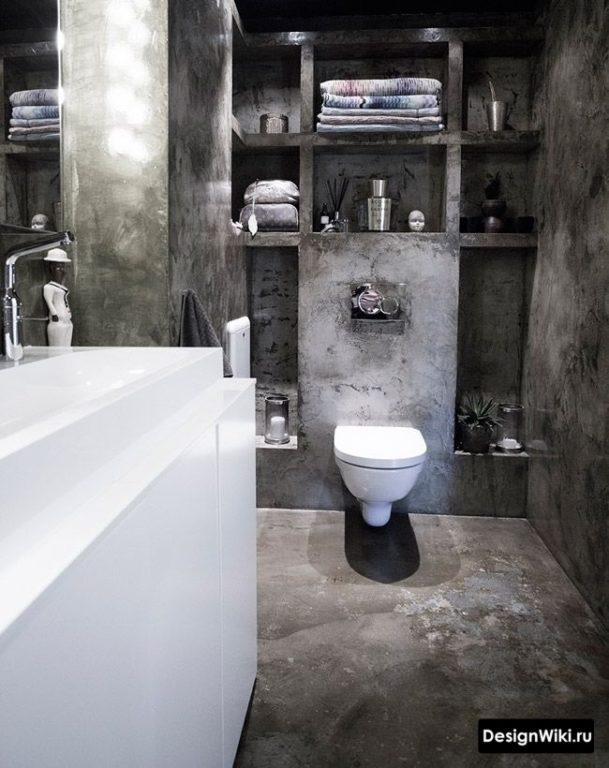 Чёрная декоративная штукатурка в ванной