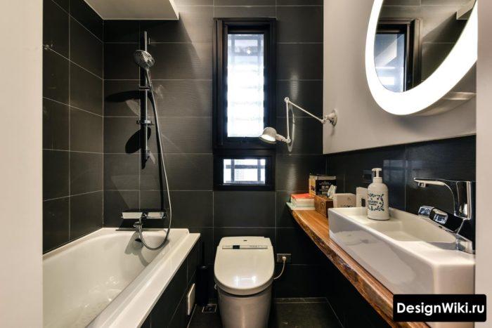 Чёрная плитка в ванной в стиле лофт
