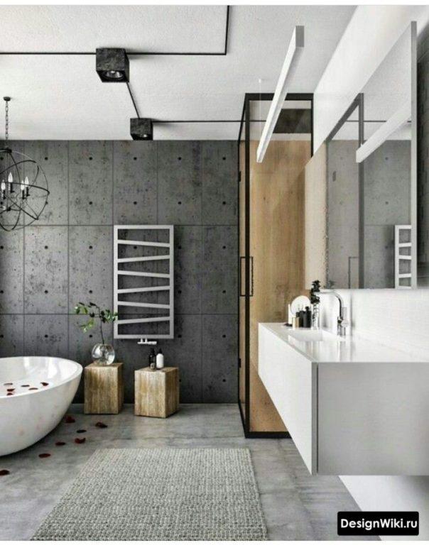 Штукатурка под бетон с имитацией блоков в ванной