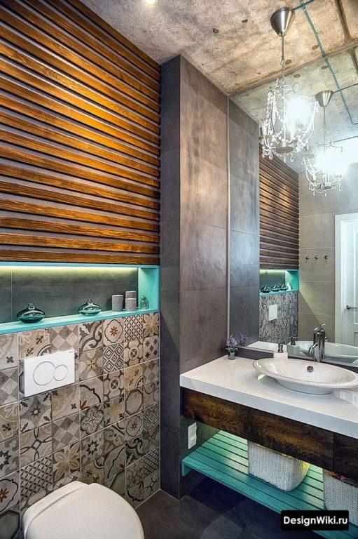 Яркая ванная в стиле лофт