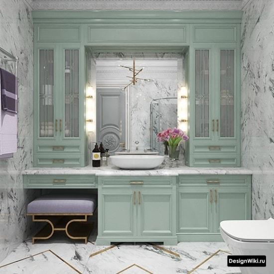 Бирюзовая мебель в ванной комнате