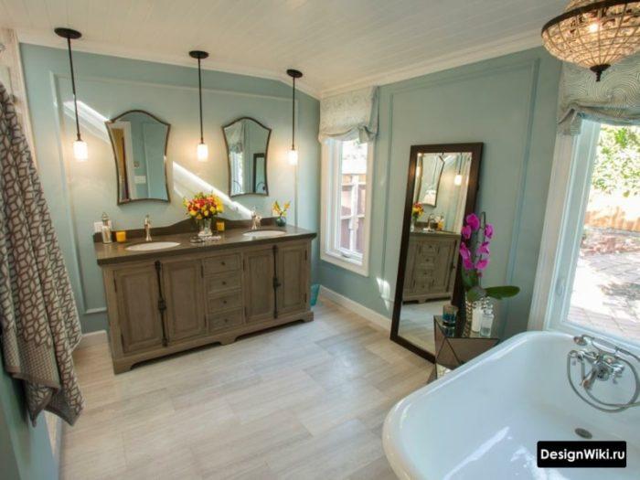 Бирюзовые стены в ванной в стиле прованс