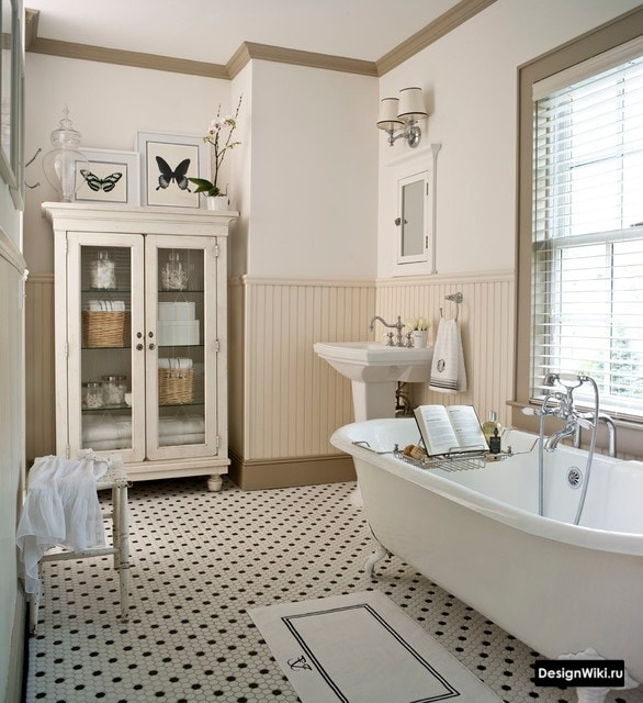 Ванная в стиле прованс в коричневых тонах