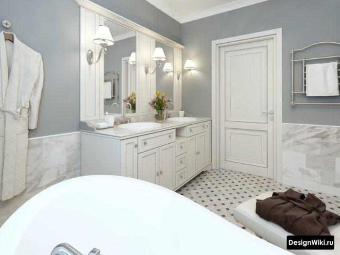 Ванная в стиле прованс с плиткой под мрамор