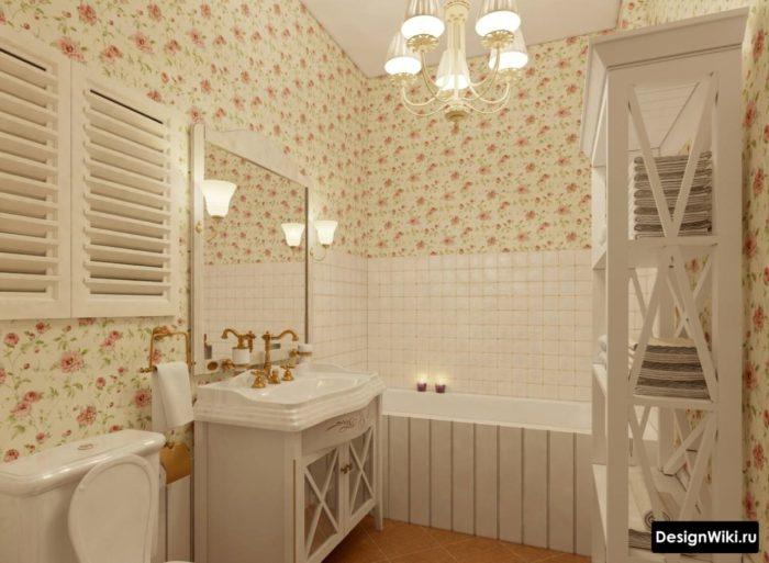 Ванная комната в квартире в стиле шебби шик
