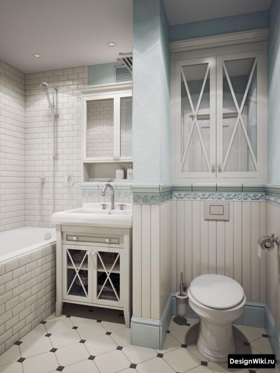 Дверцы с зеркалами вместо окна для стиля прованс в ванной
