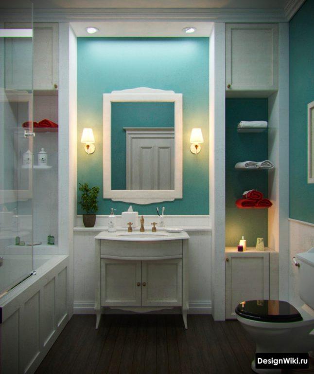 Дизайн ванной в светлых тонах в классическом стиле