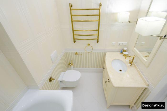 Золотая сантехника в ванной комнате