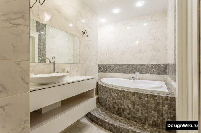 Зонирование ванной комнаты плиткой