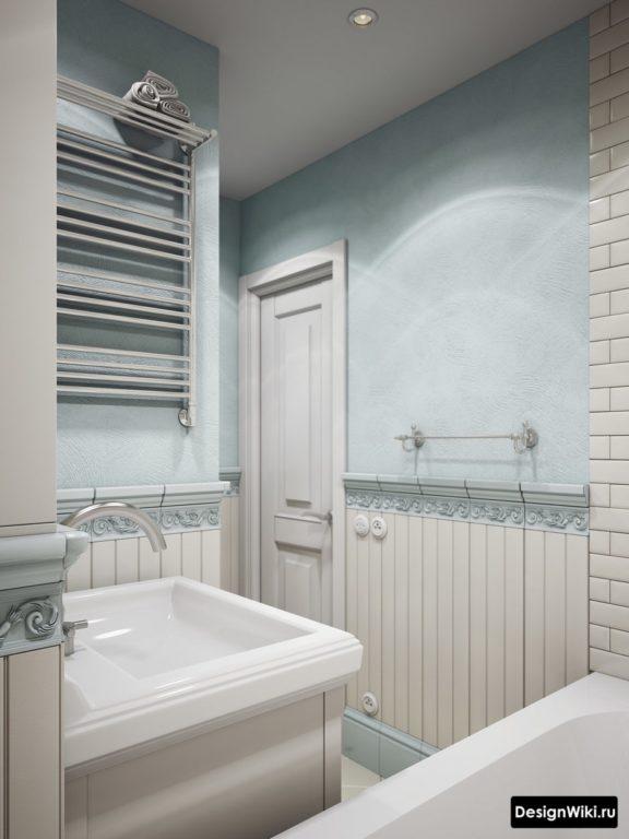Интерьер ванной в нежных пастельных цветах