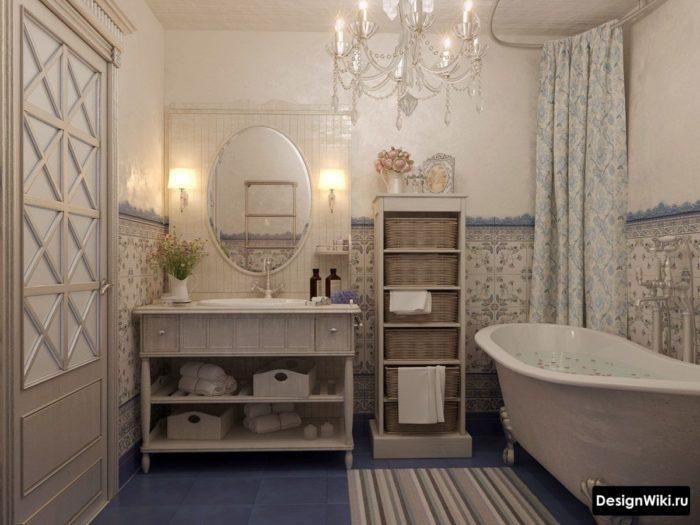 Классическая ванная в стиле прованс