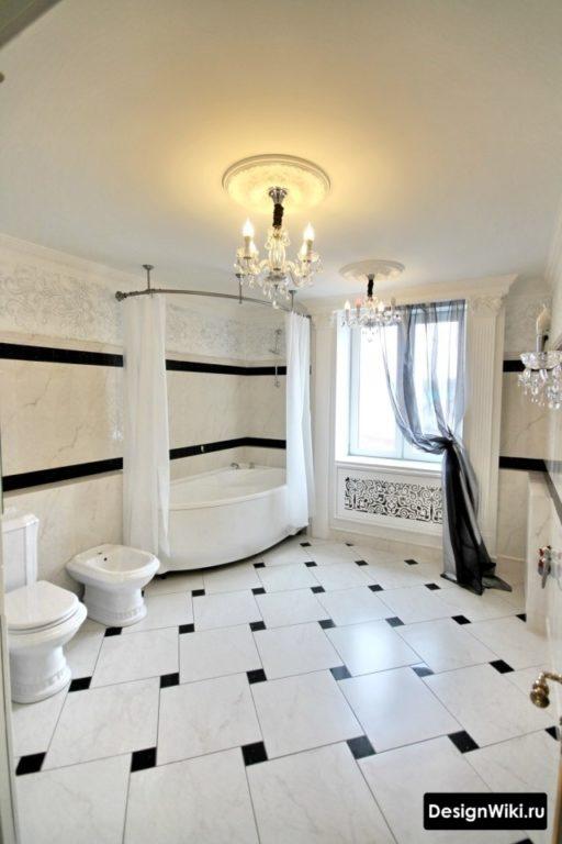 Классический дизайн большой ванной