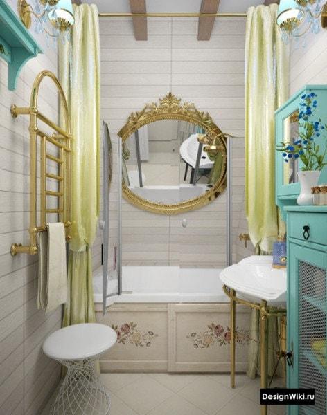 Маленькая яркая ванная с золотом и голубым цветов #дизайнинтерьера #ванная
