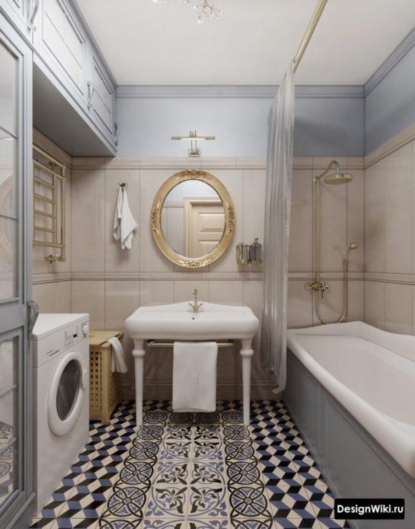 Напольная плитка с узором в ванной в стиле прованс