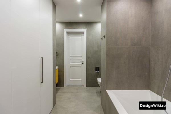 Облицовка ванной одним видом серой плитки