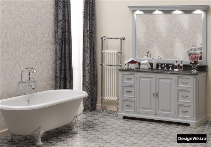 Обои в ванной комнате в классическом стиле