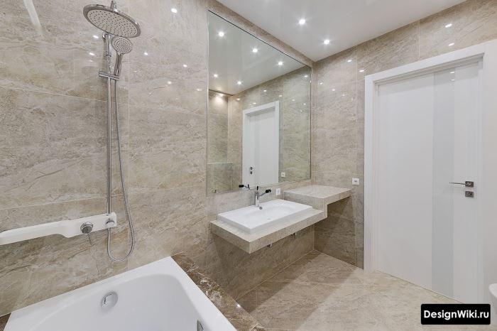 Отделка ванной комнаты в стиле минимализм