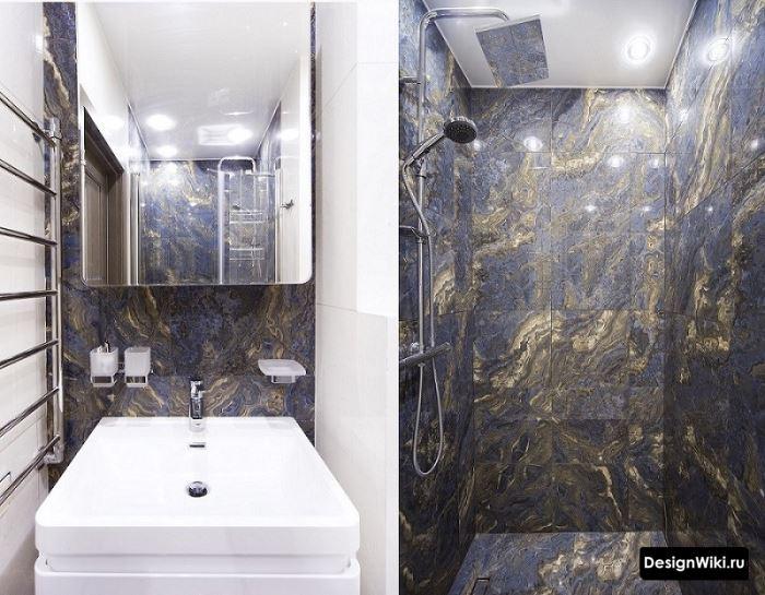 Отделка ванной комнаты кафелем под сланец