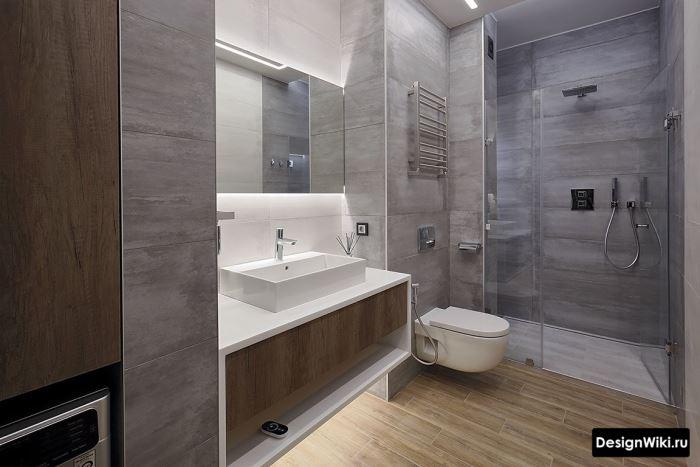 Отделка ванной комнаты плиткой в современном стиле