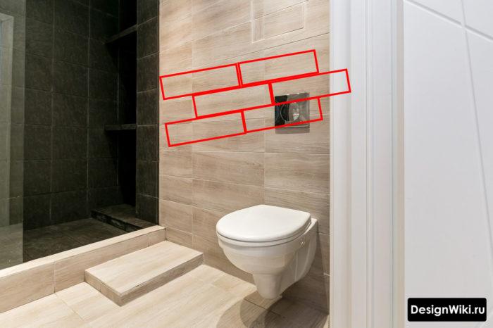 Отделка ванной комнаты плиткой под дерево