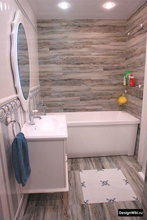 Отделка классической ванной комнаты плиткой под дерево #интерьер #дизайнванной
