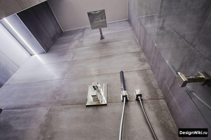 Отделка плиткой душевой зоны в ванной комнате