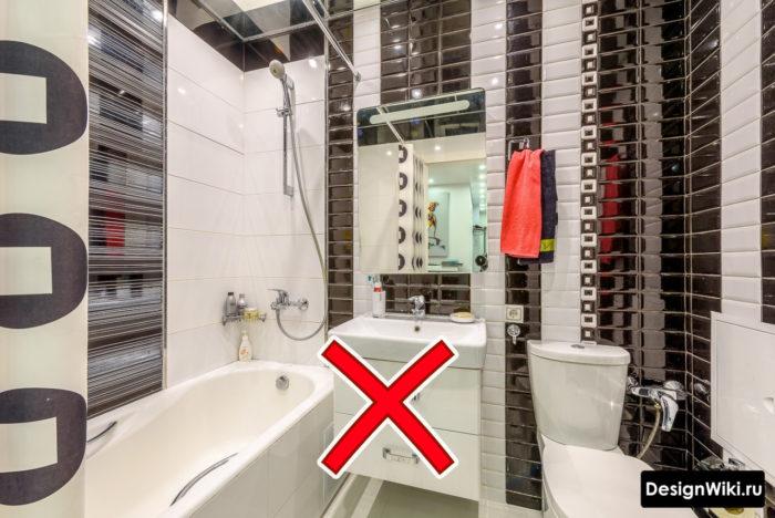 Ошибочный вариант отделки ванной комнаты