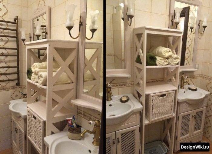 Плетеные корзинки для хранения вещей в классической ванной комнате