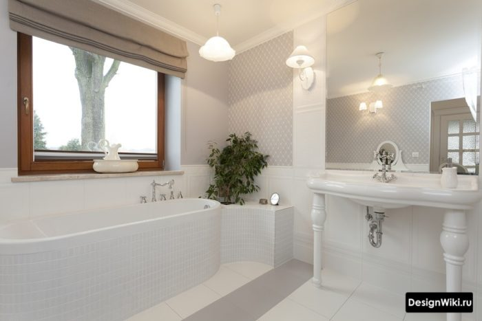 Практичная ванная в стиле прованс