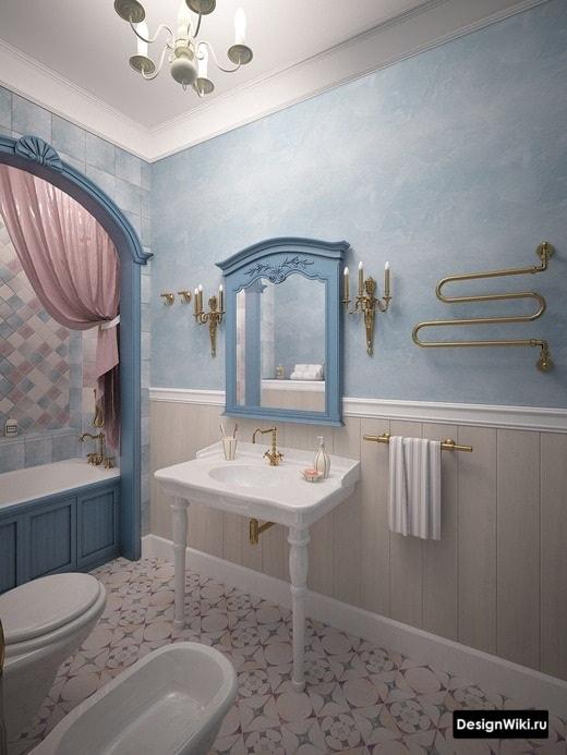 Раковина на ножках в классической ванной